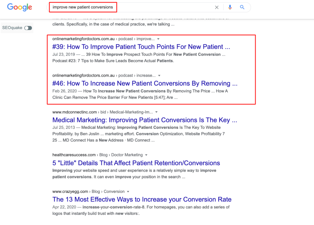 Example of getting my content found on Google through a popular search query